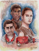 Rey, Finn, and Poe - Star Wars: The Force Awakens