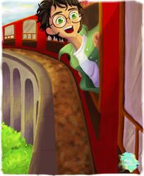 Harry Potter heading to Hogwarts by melahartono