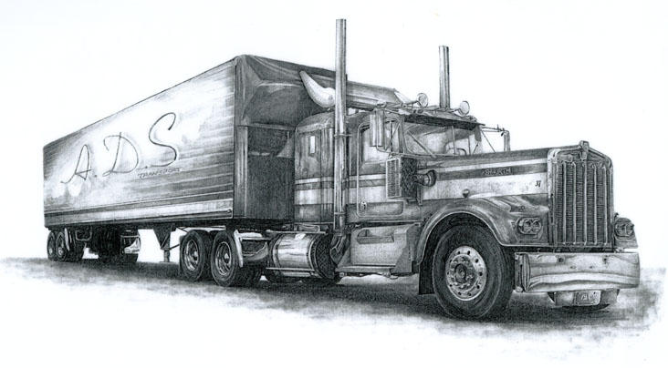 Semi Tractor Drawings : Tractor trailer sketches bing images