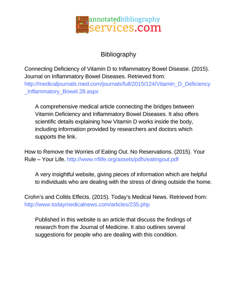 examples annotated bibliography for websites