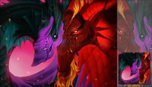 [c] Flightrising Guardian Dragon Couple Icon by Noctalosis