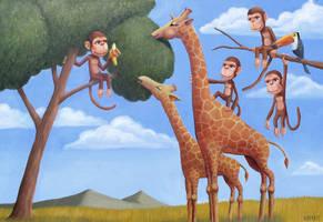 Monkeys,Giraffes,and a Toucan