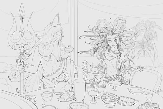 KIU - WIP Poseidon x Medusa sketch