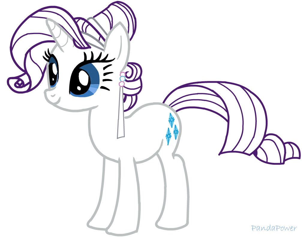 MLP Rarity Crystal Pony Outline By Chloepanda95
