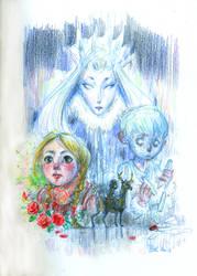 Snow Queen (classic version....) - colour doodle by Pika-la-Cynique