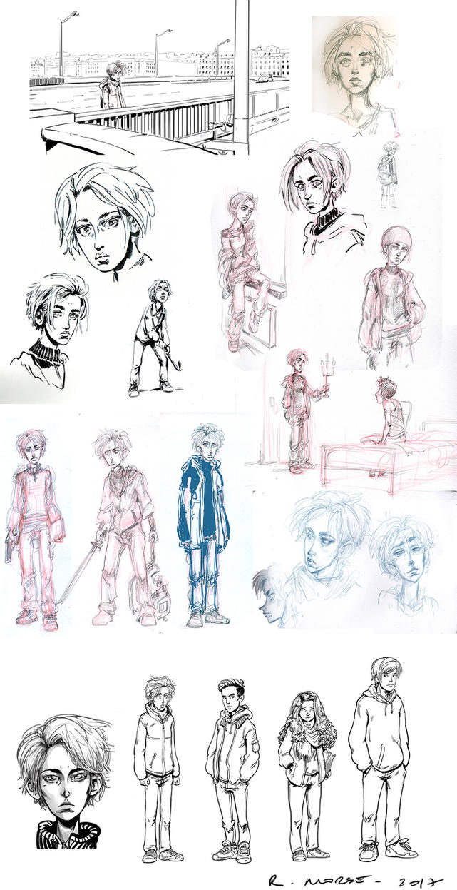 Character studies for a nixed YA graphic novel by Pika-la-Cynique