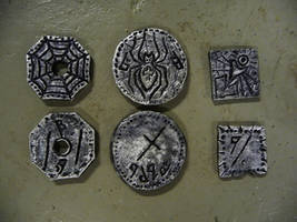 Finished drow coins by Sharpener