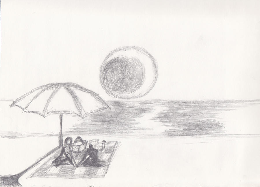 Beach Sketches Drawings Scene rough Sketch By
