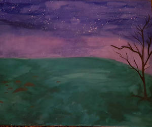 a tree and a night sky by Sorrelclaww
