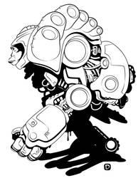Chimp Cyborg Thing by handtoeye