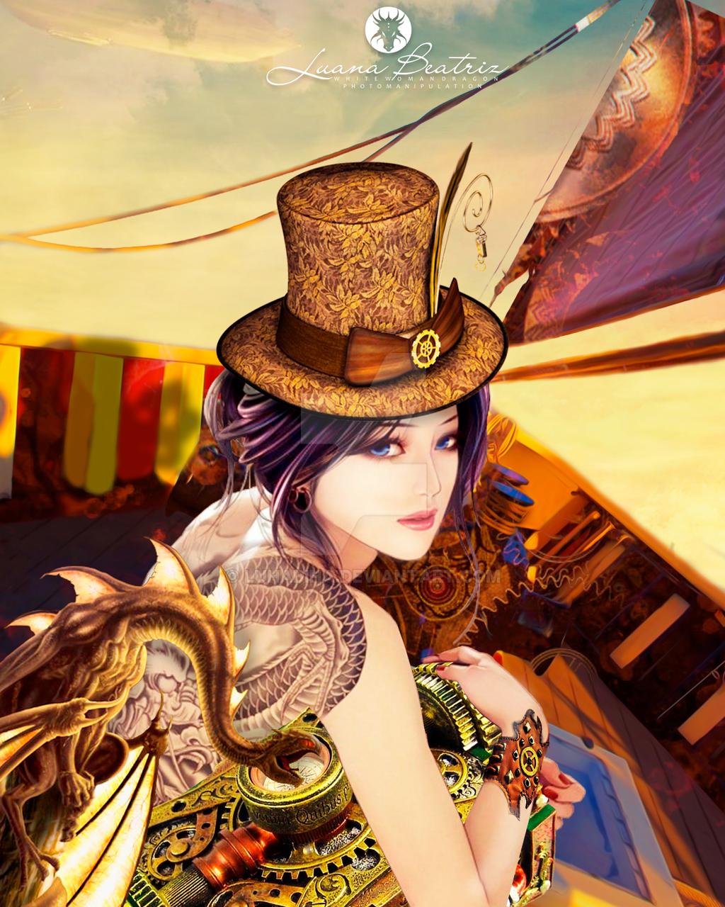 steampunk flying in a flying ship by LuhaBiha