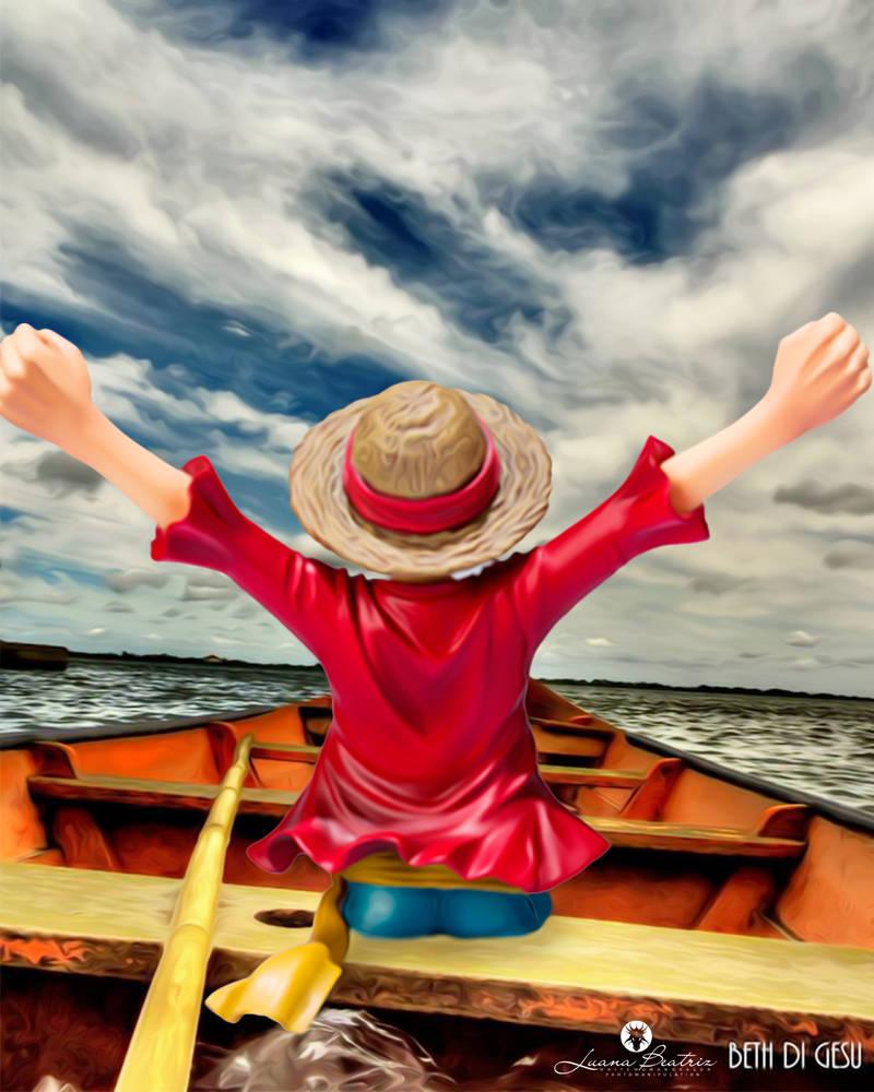 Luffy in canoe by LuhaBiha