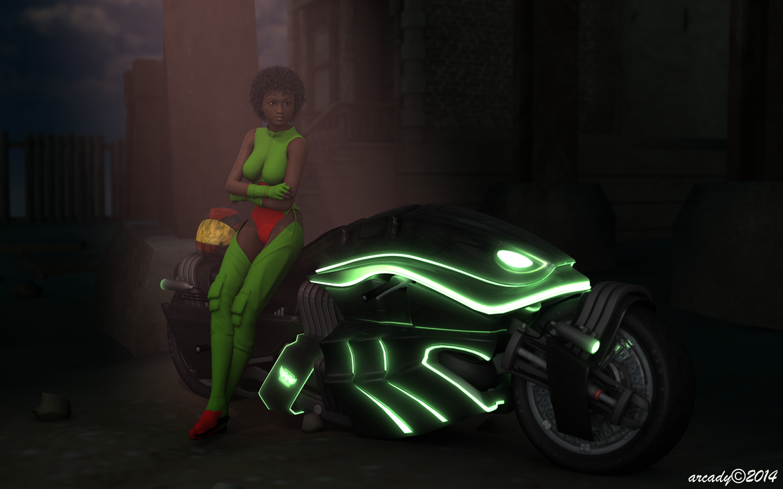 Woman with Futuristic Bike in Shadow by arcady