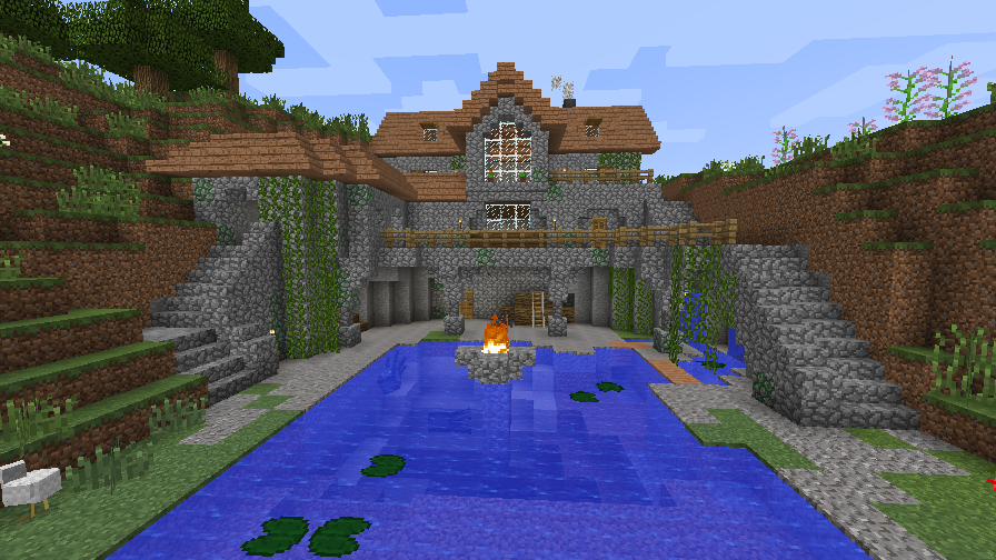Minecraft pond house vanilla by homunculus84 on deviantart for What goes into building a house
