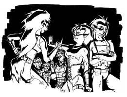 Daughters of Hralln 2 b-w by RachelHWhite
