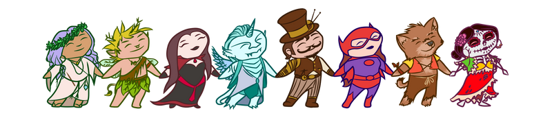 OtherWorlds Factions - chibi representatives by RachelHWhite