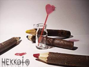 World in bottle - Heart and crayons