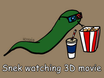 Day 74: Snek watching 3D movie [365 days of snek] by Hekkoto