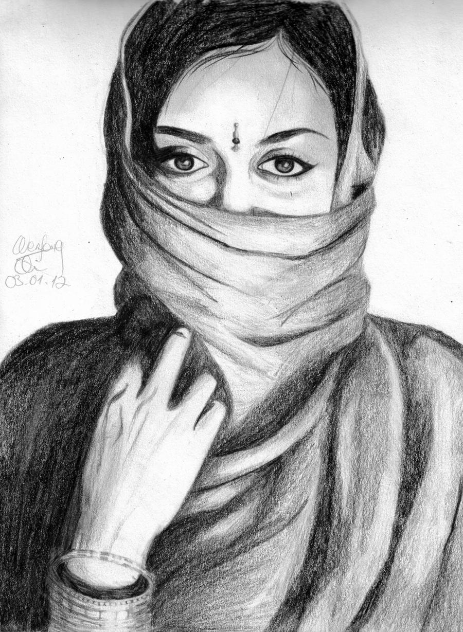 Drawing of an india woman 3