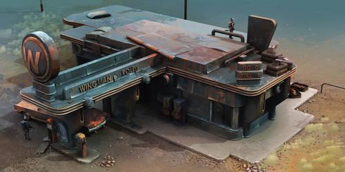 Encased - Gas Station - Atmospheric Concept-Art