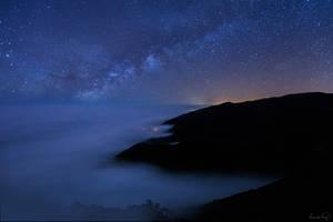 Milky way over california coast