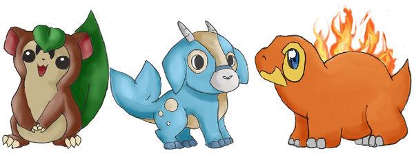 My Fakemon Pokemon Starters.