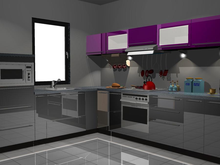 kuchnia czarno fioletowa by PrzemyslawP