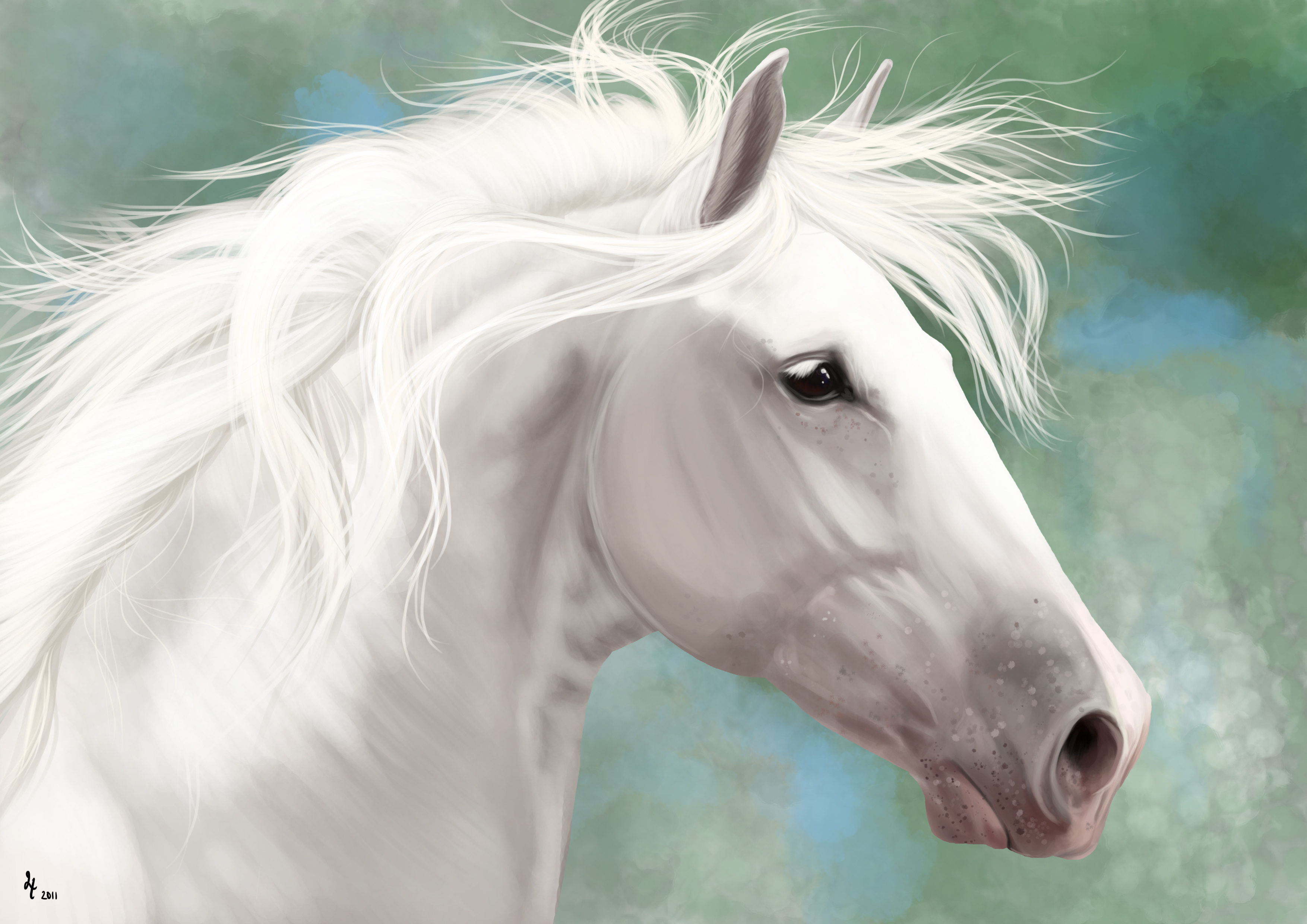Horse Black And White Head Painting