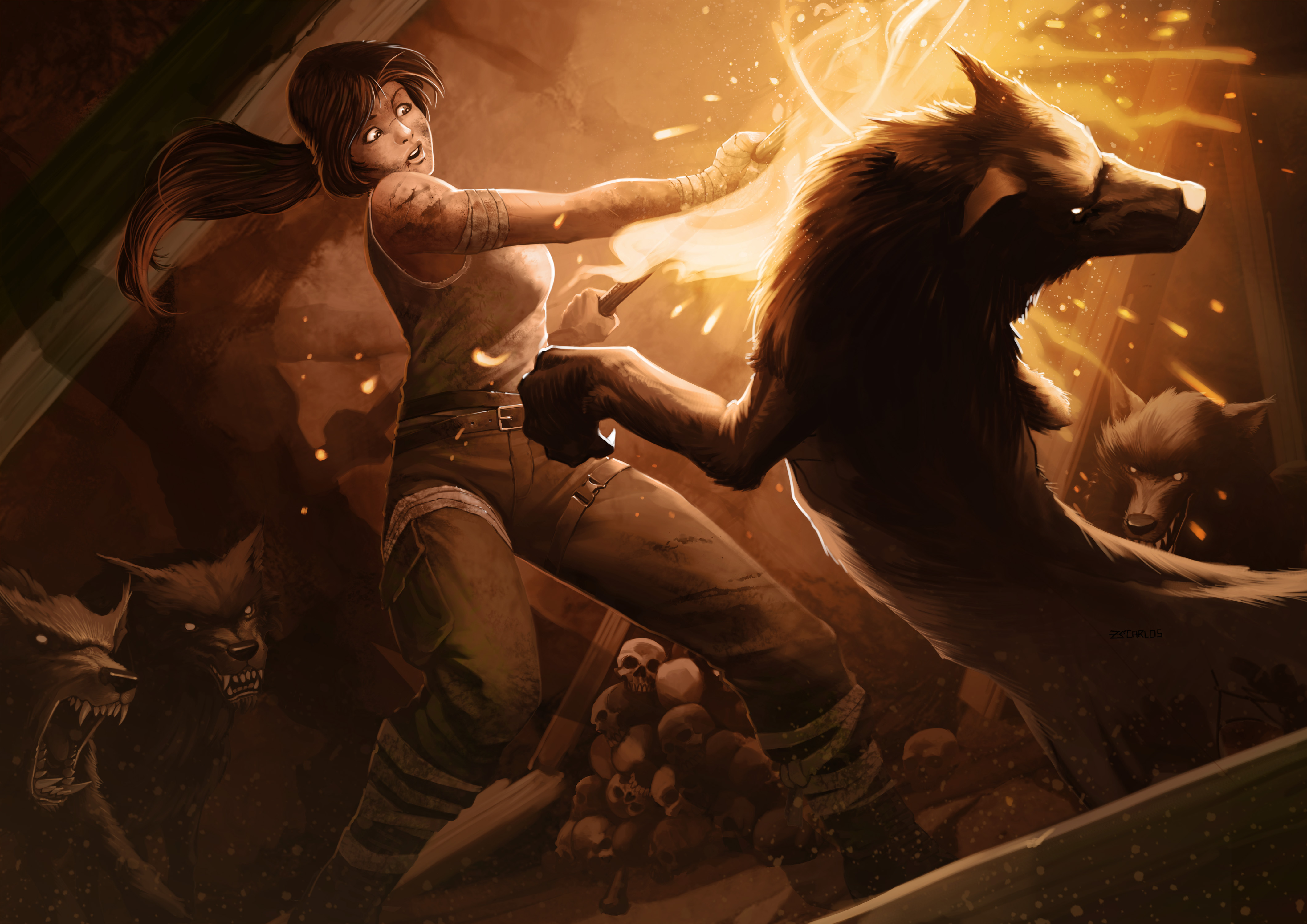 lara croft-Wolves on the prowl by zecarlos