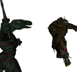 Orc - Raptor Fight WIP by thunderrr