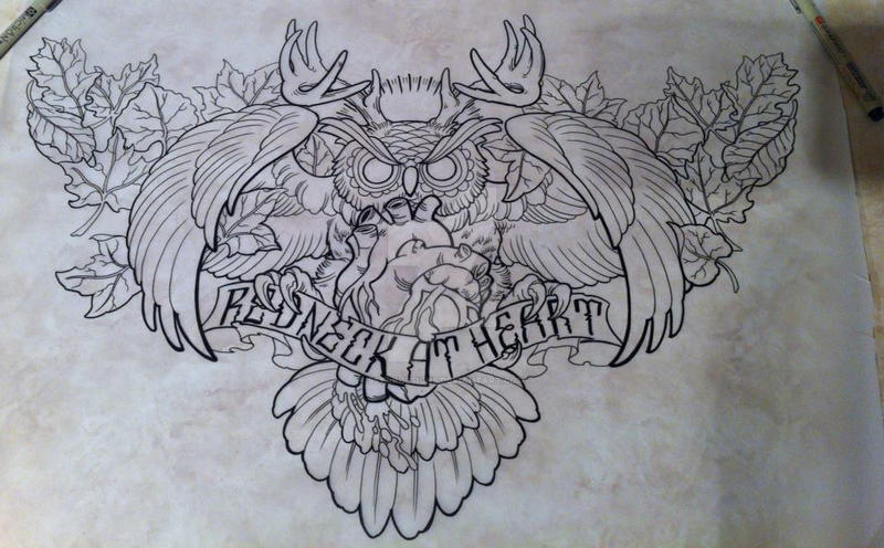 Chest Piece Redneck At Heart Owl Hunting Design By