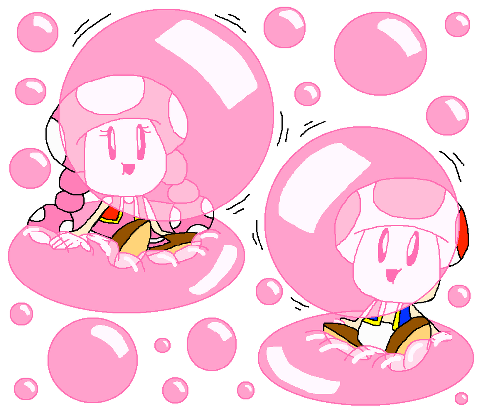 Toad and Toadette's Bubble Gum Bubble Ride by PokeGirlRULES