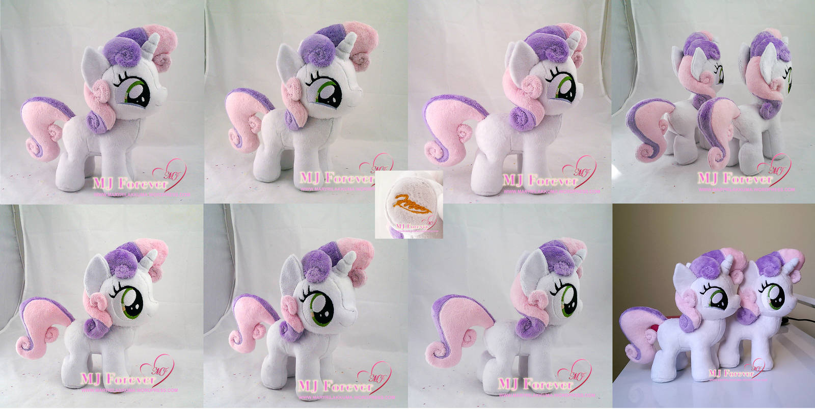 Sweetie Belle Plushies! (commission + mine) by moggymawee