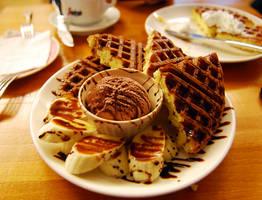 BANANA chocolate waffle 2 by reiime