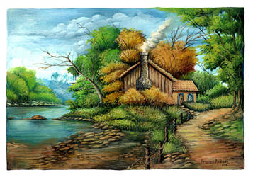 watercolor landscape III by henriqueandrade