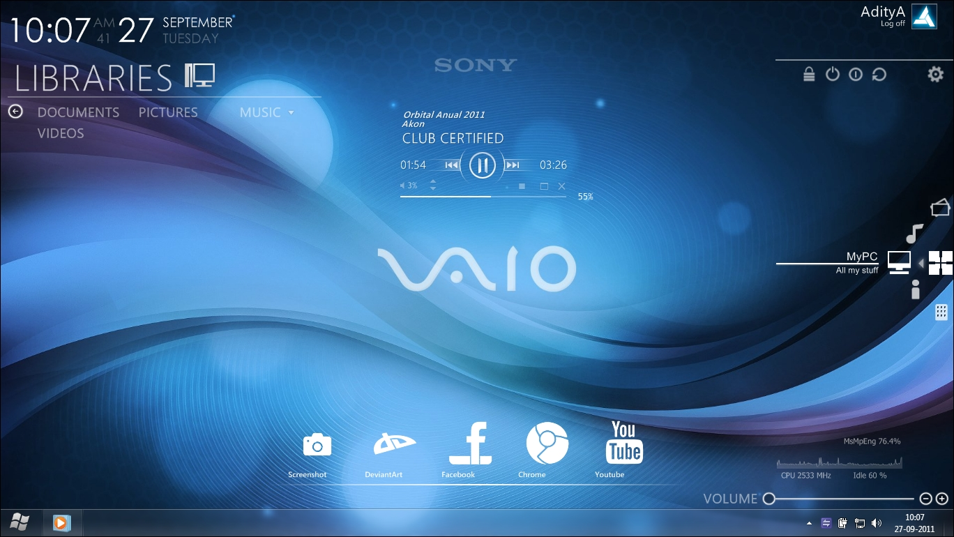 Sony Vaio Wallpaper Or Themes: Sony Vaio Rainmeter Desktop By Ace7777 On DeviantArt