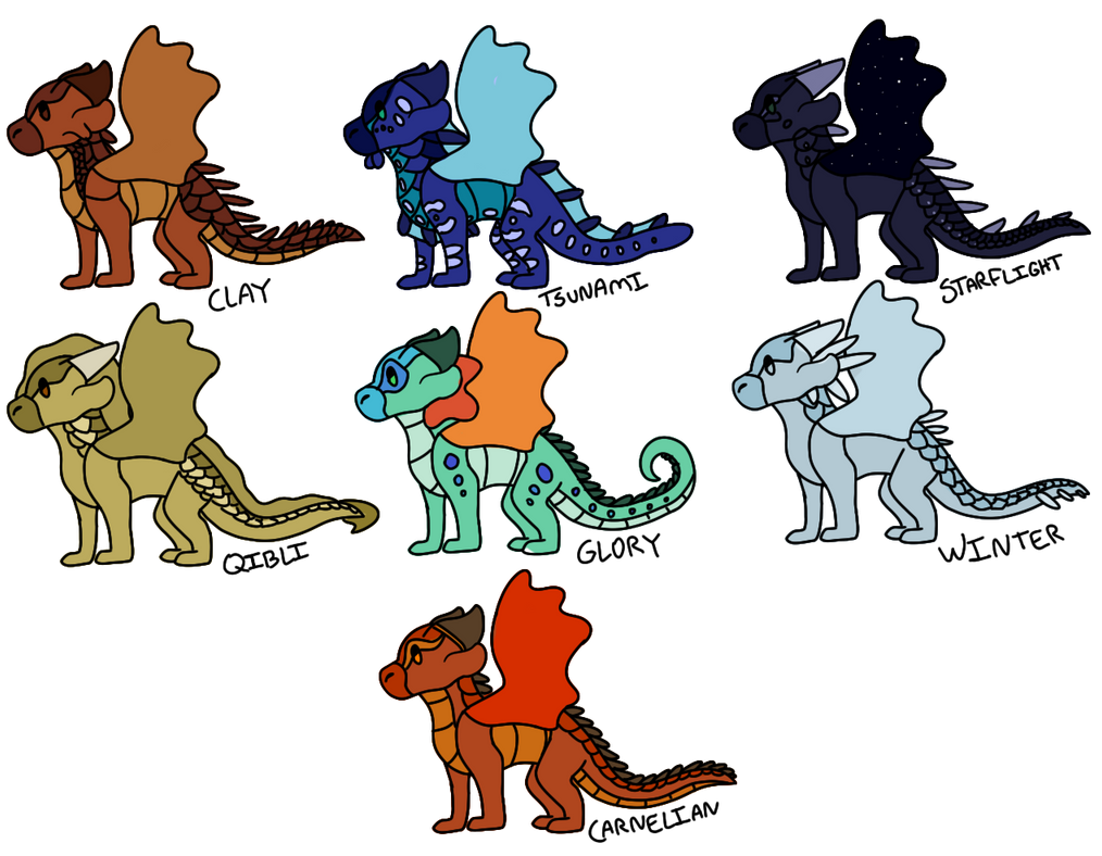 Wings of Fire Chibis! by i-draw-dragon-things