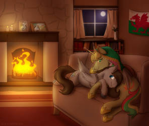 Peaceful Evening by the Fire - Comm