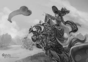 kog'maw with sona[grey tone] by bcnyArt