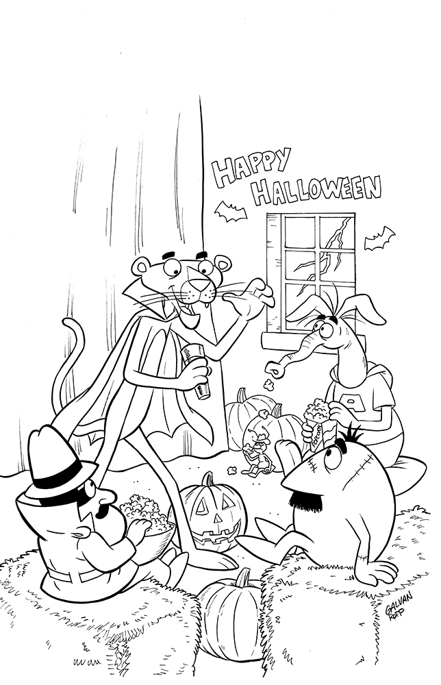 PInk Panther Trick or Pink Cover A Inks by toonbaboon