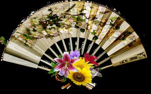 Vintage decorative fan png stock by DoloresMinette