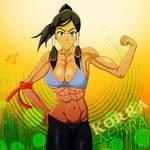 Korra Showing off Muscles by Zecrus-chan