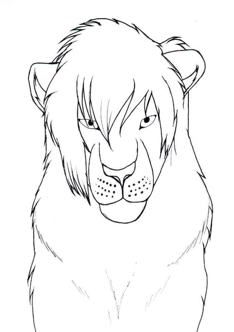 Line Drawing Lion Head : Lion head line drawing