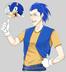 Sonic x - redraw - humanization by IdeKaKazuoki