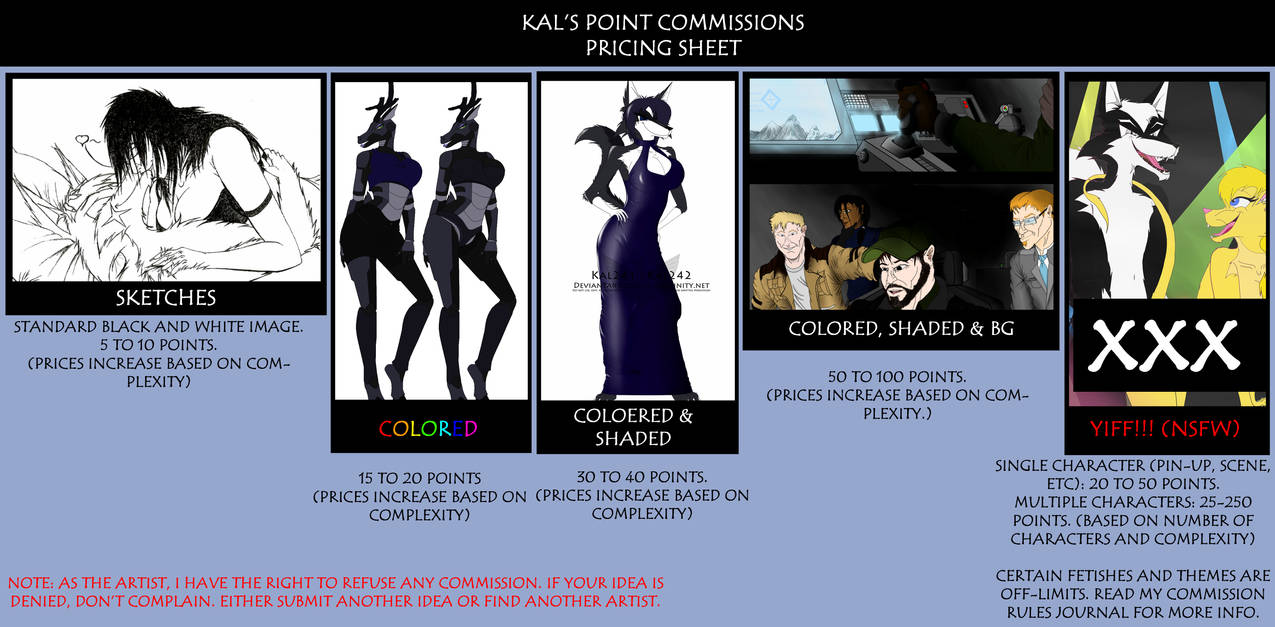 Point Commissions Price Sheet