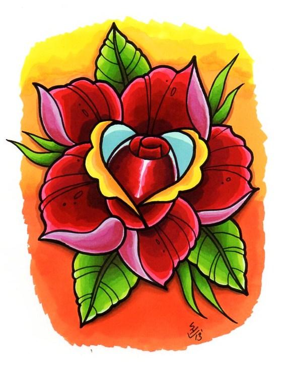 New Skool Rose Tattoo Design by Hamdoggz on DeviantArt