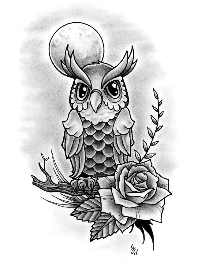 Owl Line Drawing Tattoo : Owl design by hamdoggz on deviantart