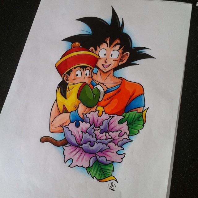 Gohan and Goku Tattoo Design by Hamdoggz