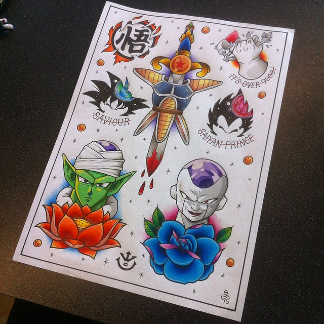 Dragon Ball Z Tattoo Flash Sheet by Hamdoggz