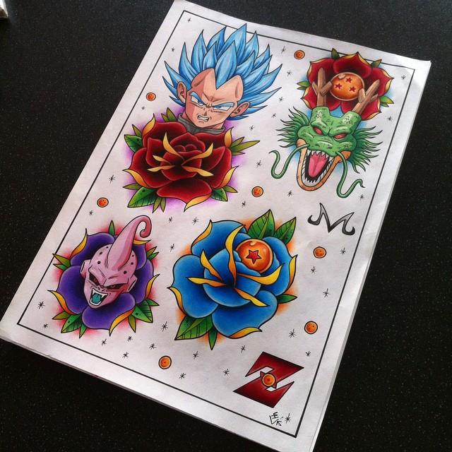 Dragon Ball Z Tattoo Flash Sheet 2 by Hamdoggz
